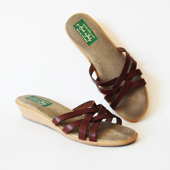 vintage WEDGE sandals / 1980s strappy LEATHER slip ons