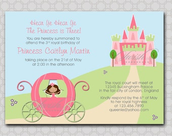 Princess birthday invitation - 5x7 invite - printable diy digital carriage castle