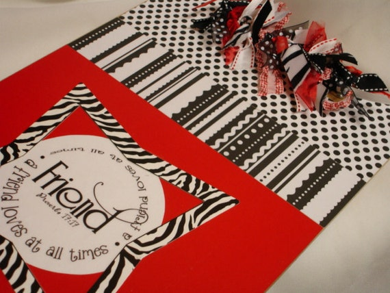 ZEBRA and RED CLIPBOARD A Friend Loveth