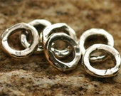 Six Small Wide Faced Links or Big Hole Spacer for Leather in Sterling Silver, AD203