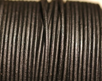 3 Feet 4mm Matte Black Round Leather Cord for Jewelry Making