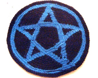 Pentacle patch in black and blue acrylic