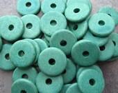 25 Seafoam Greek Ceramic Beads - 13mm Round Washer