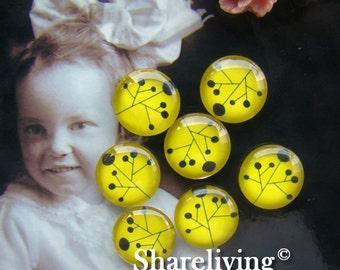 Glass Cabochon, 8mm 10mm 12mm 14mm 16mm 20mm 25mm 30mm Round Handmade photo glass Cabochons (Flower)  -- BCH092B
