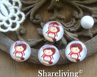 Glass Cabochon, 8mm 10mm 12mm 14mm 16mm 20mm 25mm 30mm Round Handmade photo glass Cabochons  (Little Red Riding Hood ) -- BCH012J