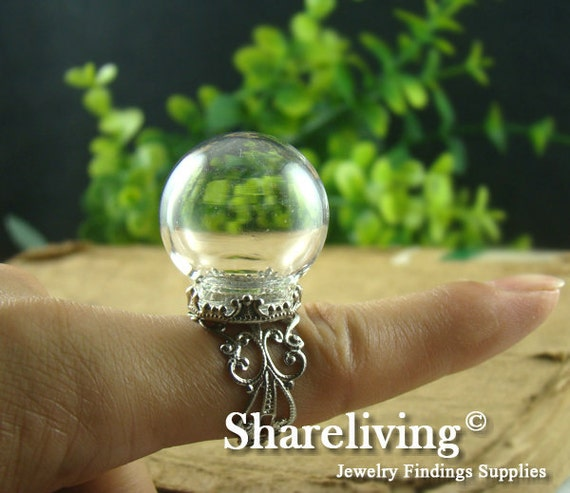 1 set 15mm Large Clear Glass Globe Bottle With Silver Crown Filigree Ring RI804A