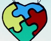 Stained Glass Autism Puzzle Heart Suncatcher