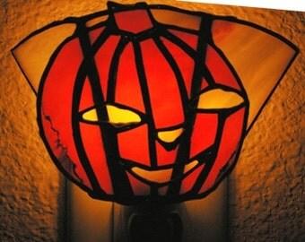 Stained Glass Halloween Pumpkin Night Light Suncatcher