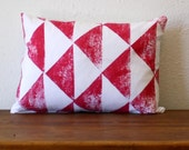 Hand Printed Magenta and White Arrow Pillow - 12 x 16 Pillow with Insert