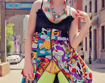 Japanese Fashion Harajuku Decora Girl KPop Kawaii Baby Doll Dress with Silk Looney Toons Print by Janice Louise Miller