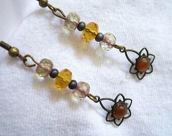 Yellow Brown Beaded Long Slender Bronze Earrings Handmade
