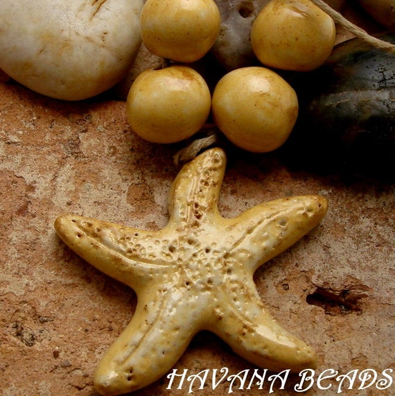 RUSTIC GOLDEN STARFISH - Handmade Ceramic  Pendant with Coordinating Beads