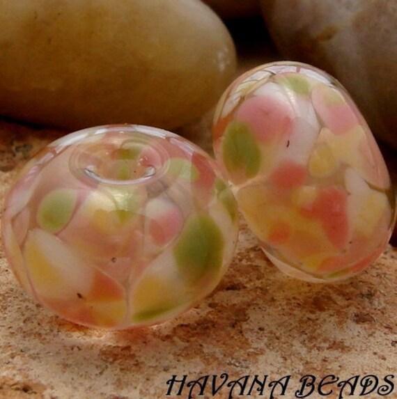 PINK LEMONADE - Earring Pair - Set of 2 Handmade Lampwork Beads