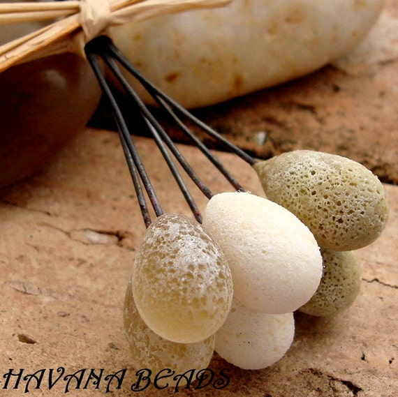 FOSSILIZED SAND - As Seen In Bead Trends Magazine and Belle Armoire Jewelry - Set of 6 Handmade Lampwork  Head Pins