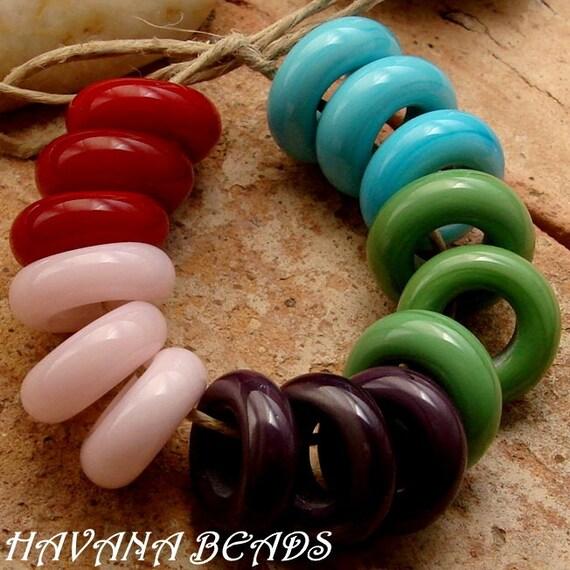 RESERVED FOR CRBULLARD - 15 Large Slider Beads - Handmade Lampwork Beads