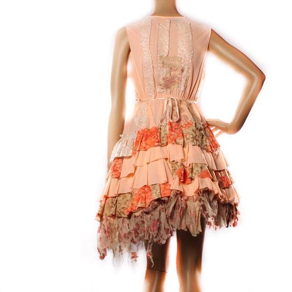 Tea Party Sundress in tangerine vintage fabrics Upcycle patchwork dress Ruffles Flower Child Costume Gothic Lolita Showgirl tattered
