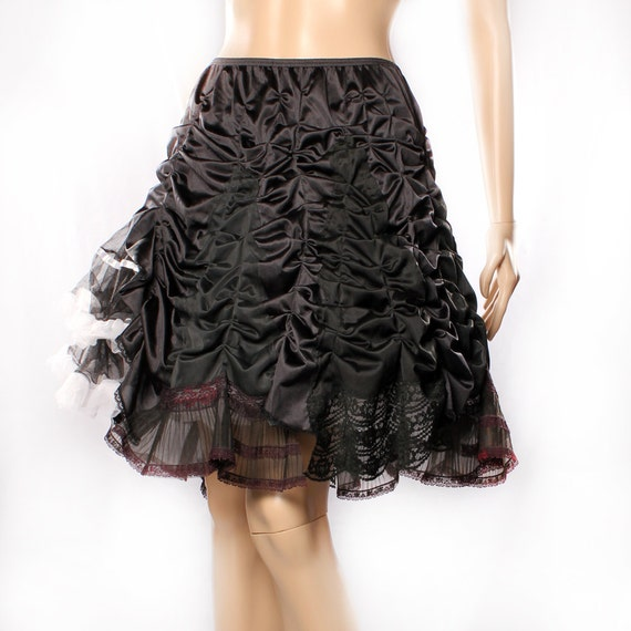 RESERVED for Isabelle. Gothic Lolita Skirt, Black ruffle ruffly Knee length, Upcycle romantic gypsy Eco friendly Dark Fairy Princess Costume