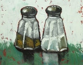 Print of salt and pepper 18 oil painting by Roz 10x10inch