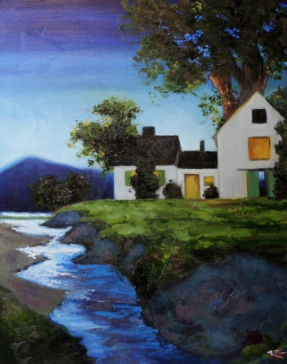 Landscape painting 189 24x30 inch original farmhouse river oil painting by Roz