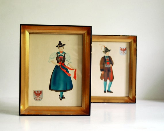 Vintage Art Original Prints, Costumed Austrian Couple Folk Art Silkscreens (set A)