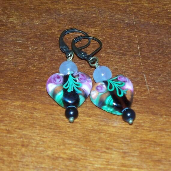 Closet Romantic -- Lampwork Glass Hearts, Rose Quartz, and Obsidian Earrings