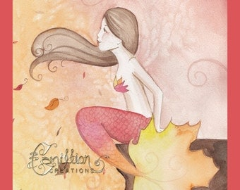 Autumn Mermaid Original Watercolor Painting by Camille Grimshaw