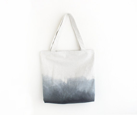 black and grey dyed canvas tote