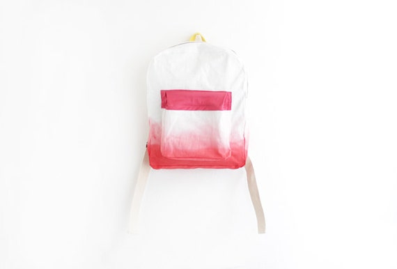 scarlet red backpack with coral pink pouch