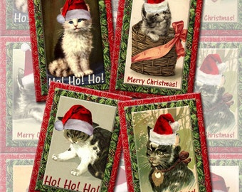 Christmas Kitty Cats- Santa Claws ALterED ArT Hang/Gift Tags/Cards -Printable Collage Sheet  JPG Digital File-BuY One GeT ONe FREE