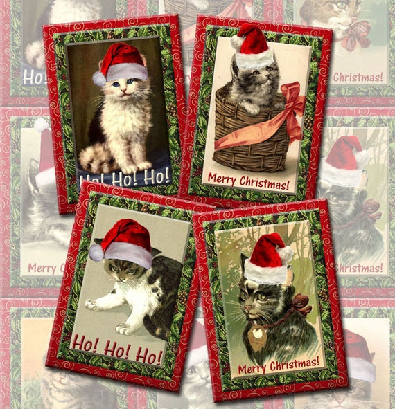 Christmas Kitty Cats- Santa Claws ALterED ArT Hang/Gift Tags/Cards-INSTaNT DOWNLoAD-Printable Collage Sheet JPG Digital File-NeW LoWER PRiCE