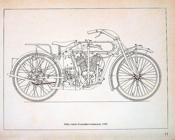 500cc Indian Powerplus Motorcycle, circa 1919 1976 Vintage Book Plate