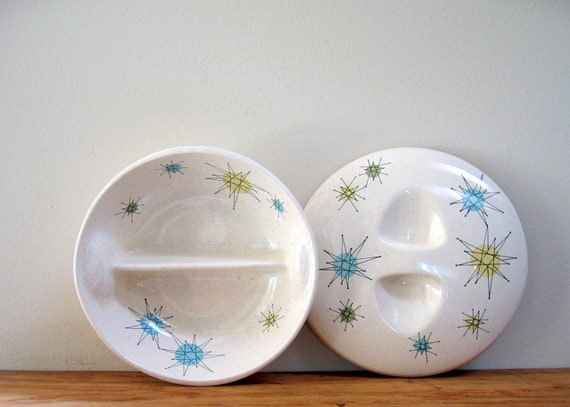 Vintage Franciscan Covered Bowl Atomic Design Blue Yellow Green
