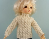 """YOSD BJD or 10"""" size dolls cabled white sweater for Little Fee Iplehouse Anne Estelle LFEE30"""