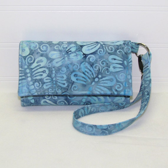LITTLE TECH Cell Phone Wallet Case iPhone Wristlet Purse for Smartphones / Blue Dragonfly Batik