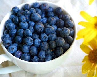 Food Photography, Still Life Photo, Blueberries, Blue, Yellow, White, Kitchen Art - 8x10 inch Print -Good Morning Sunshine