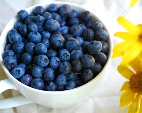 Food Photography, Still Life Photo, Blueberries, Blue, Yellow, White, Kitchen Art - 8x10 inch Print -Good Morning Sunshine