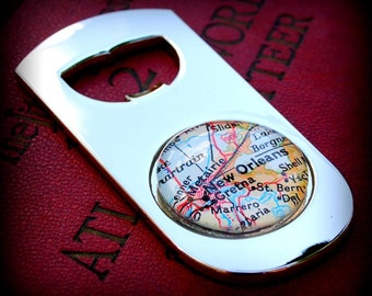 New Orleans Bottle Opener - Vintage Map - Great Groomsmen Gift