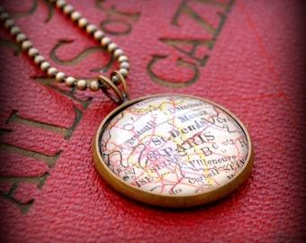 Paris Map Necklace