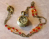 Reserved for Dorothy Steampunk Miniature Pocket Watch Necklace