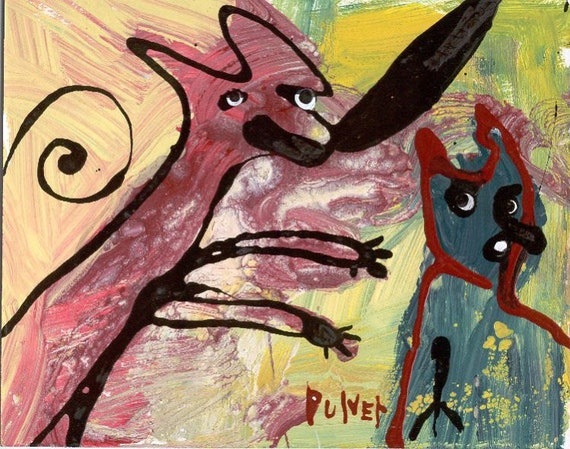Original Abstract Dog Painting . Funny Raw Art Brut Outsider Art .Yellow, Red, Black, Teal Blue