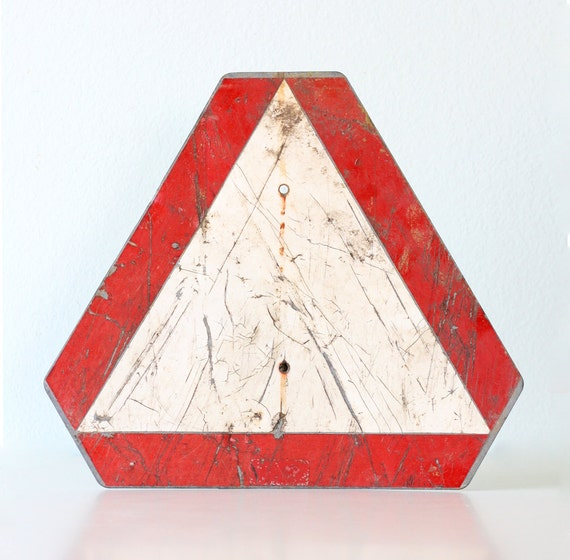 vintage road sign red and white triangle caution sign