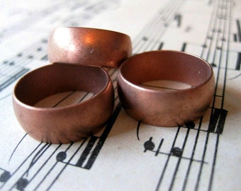 1 PC Solid copper domed heavy gauge ring band 8mm wide / SZ 6