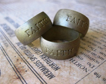 1 PC Faith - Raw Brass Solid Heavy Gauge Ring Band SZ 10