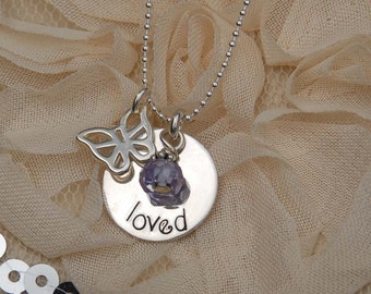 Handstamped sterling pendant with your choice of butterfly, ladybug, starfish, tiara or flower charm perfect for Birthday or flower girl
