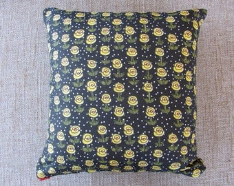 12x13 in Handmade Rectangle Throw Pillow with Black, White, Yellow and Red Polka-Dot Floral Print