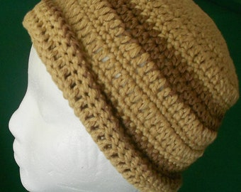 Crocheted Beanie Hat for Adult or Youth in Tan and Brown