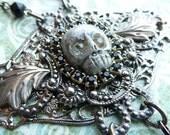 Elegy. gothic victorian mourning filigree skull necklace OOAK