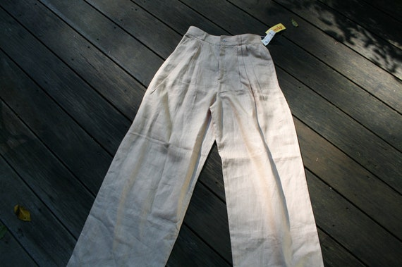vintage new misses small linen pants high waist wide leg 27 inch waist pleats Finity made in USA