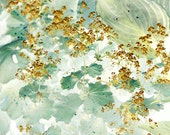 Gold  Mint Abstract Photography,  Autumn Nature Photoraphy, Woodland Art Print, Fall Decor,  Shabby Chic Home