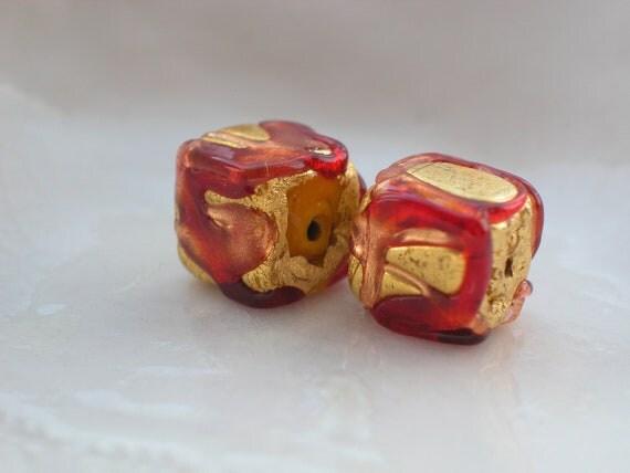 Venetian Murano Glass Red Syrup Beads